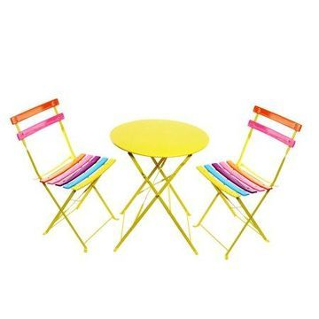 Alpine Rainbow Metal Bistro Set w/ Table and Two Chairs, 28 Inch Tall