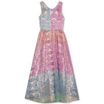 Big Girls Rainbow Glitter Dress