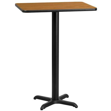 Flash Furniture Natural Bar Table, Wood Veneer with Black Metal Base in Brown