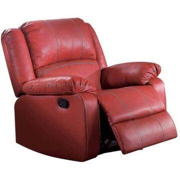 ACME Zuriel Rocker Recliner, Red Faux Leather