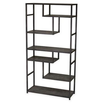 Household Essentials Faux Concrete Slate Bookcase in Grey