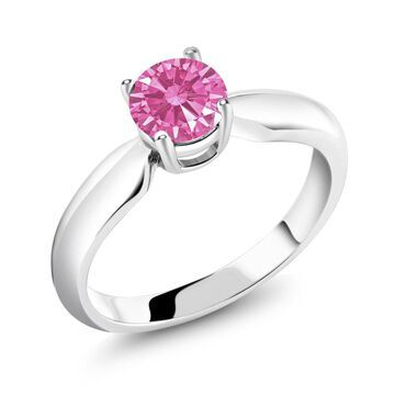 0.84 Ct Pink 925 Sterling Silver Ring Made With Swarovski Zirconia