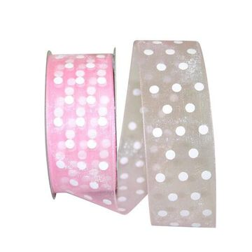 "JAM Paper 1.5"" Sheer Dots Glee Ribbon in Pink   1.5"" x 25yd   Michaels"