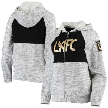 LAFC 5th & Ocean by New Era Women's French Terry Space Dye Full-Zip Hoodie Sweatshirt - Heathered Gray