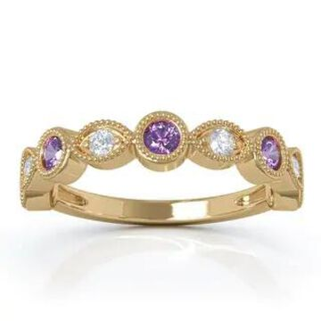 14K Gold Amethyst & Diamond (0.12 Ct, G-H Color, SI2-I1 Clarity) Milligrain Wedding Band by Noray Designs