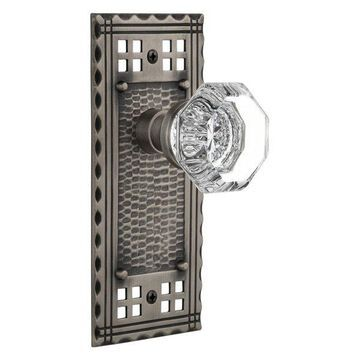 Craftsman Plate Privacy Waldorf Knob, Antique Pewter