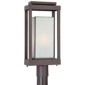 Quoizel Powell Outdoor Post Lantern in Bronze with Glass Shadowbox