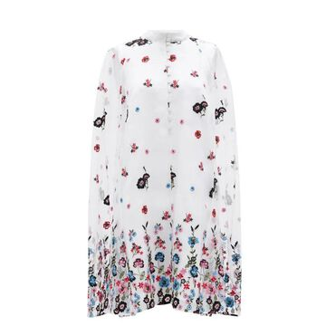 Erdem - Caelyn Cape-back Floral-embroidered Organza Dress - Womens - White Multi