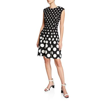 Dot Print Pleated Fit-and-Flare Dress