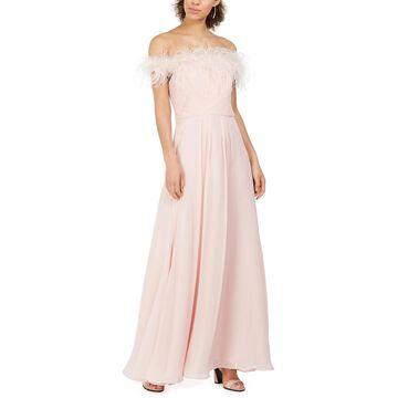 Eliza J Womens Petites Evening Dress Feathered Neck Shutter Pleat - Blush