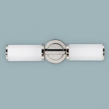 Feiss Industrial 2-Light Wall-Mount Sconce in Polished Nickel with Opal Etched Glass Shades