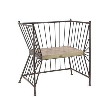 Decmode - Black Iron Chair with Wooden Seat