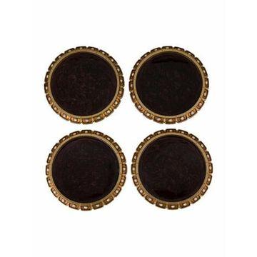 Set of 4 Sled Edge Coasters brown