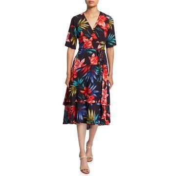 Floral Crepe Elbow-Sleeve Faux-Wrap Dress