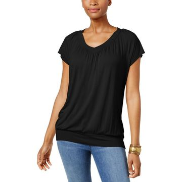JM Collection Womens V-Neck Solid Blouse