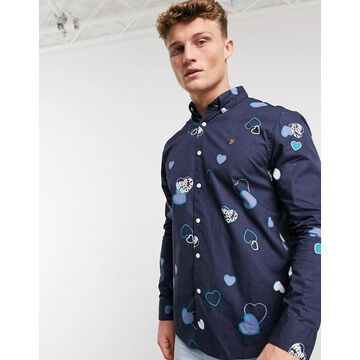 Farah Darrell print long sleeve shirt-Navy