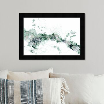 Oliver Gal 'Jamie Blicher - Diana Teal' Abstract Wall Art Framed Print Watercolor - Green, White
