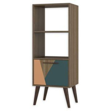 Manhattan Comfort Sami 2.0 Double Bookcase in Peach/Teal
