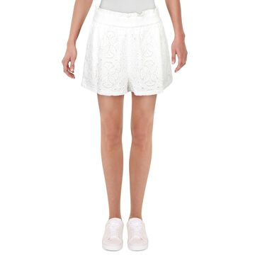 Jonathan Simkhai Womens Alexandra Wide Leg Shorts Lace Embroidered - White