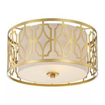 Filament Design Ornate 2-Light Flush Mount Ceiling Light In Natural Brass