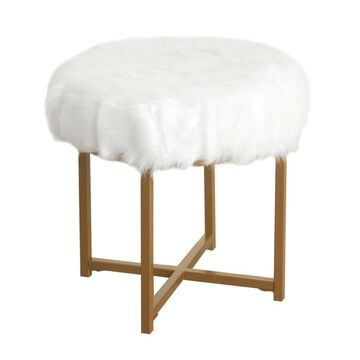 Benzara White and Gold Small Upholstered Bar Stool