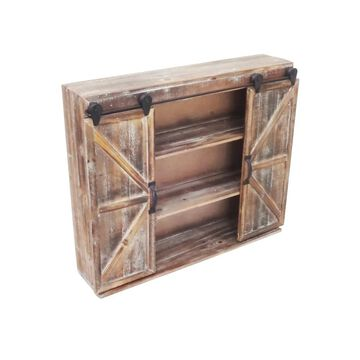 Jeco Rustic Wood and Iron Distressed Wall Cabinet