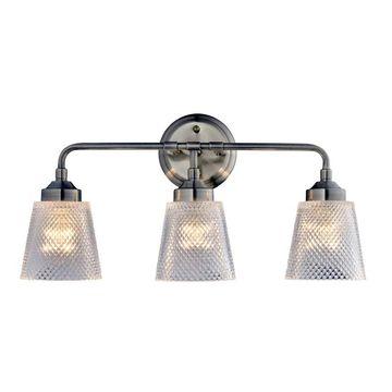 """Varaluz 312B03 Westport 20"""" Bathroom Light with Recycled Waffle Glass Shade Antique Brass Indoor Lighting Bathroom Fixtures Vanity Light"""