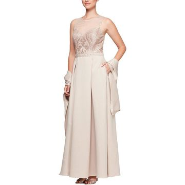 Alex Evenings Womens Formal Dress Satin Illusion