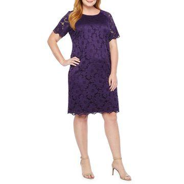 Ronni Nicole Short Sleeve Floral Lace Sheath Dress-Plus