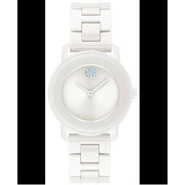 Movado Bold White Crystal Dial White Ceramic Women's Watch 3600616 3600616