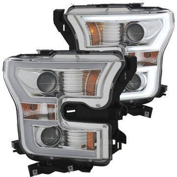 ANZO 2015-2016 Ford F-150 Projector Headlights w/ Plank Style Design Chrome w/ Amber