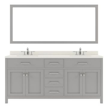 Virtu USA Caroline 72-in Cashmere Gray Undermount Double Sink Bathroom Vanity with Dazzle White Quartz Top (Mirror and Faucet Included)