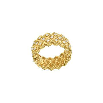 Barocco Three-Row Ring with Diamonds in 18K Yellow Gold, Size 6.5