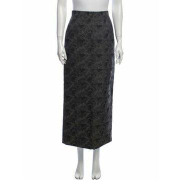 Floral Print Midi Length Skirt Grey