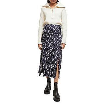 Maje Judey Printed Midi Skirt