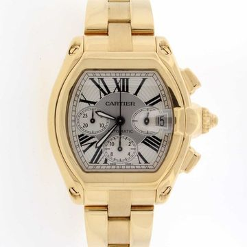 Cartier Men's W62021Y2 'Roadster' Chronograph Gold-Tone Stainless Steel Watch