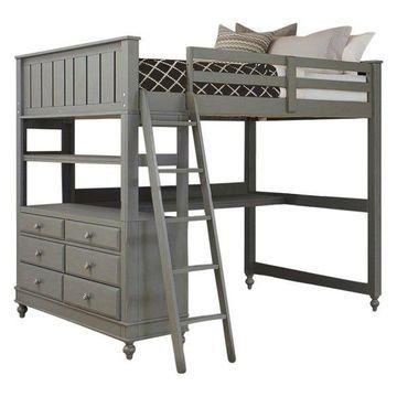 NE Kids Lake House Full Loft Bed With Desk, Stone