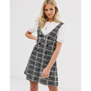 Miss Selfridge dress with tee in gray check