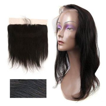 Unique Bargains Straight Free Part Closure Human Hair Frontal Lace 13x4 18