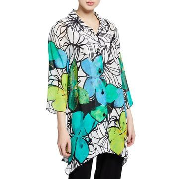 Butterfly-Print Button-Front 3/4-Sleeve Swing Shirt