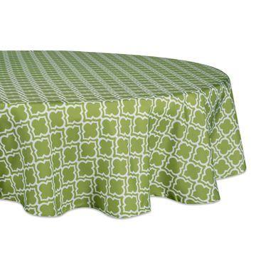 Design Imports Lattice Outdoor Tablecloth