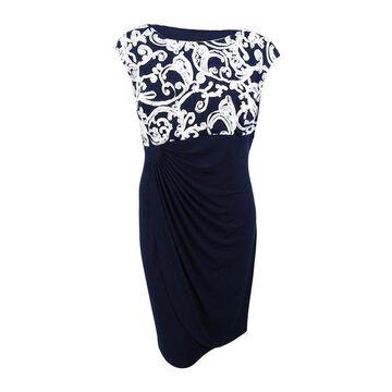 Connected Women's Plus Size Soutache Dress - Navy/Ivory