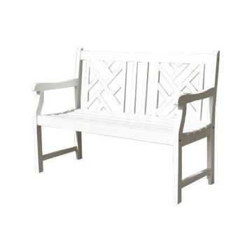 Vifah Bradley Outdoor Bench in White