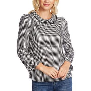 CeCe Collared Gingham-Print Top