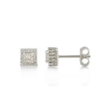 Divina 10KT Gold 1/2ct TDW Princess Diamond Halo Earrings