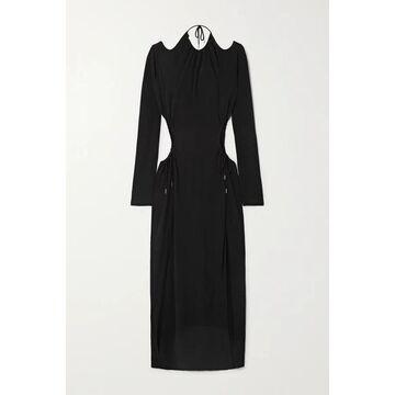 Dion Lee - Cutout Gathered Jersey Maxi Dress - Black