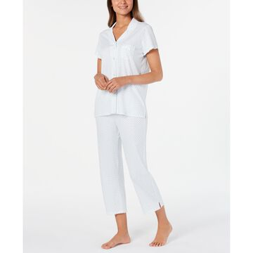 Knit Floral-Print Cropped Pants Pajamas Set