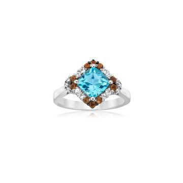 Le Vian Chocolatier Aquamarine & Sapphire 14K White Gold Ring