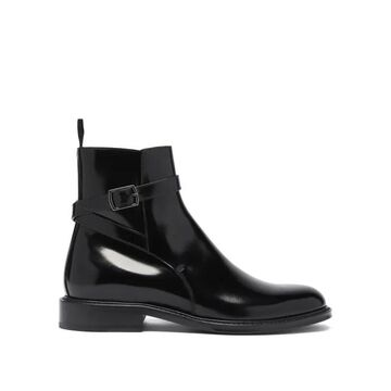 Saint Laurent - Wraparound-strap Leather Ankle Boots - Womens - Black