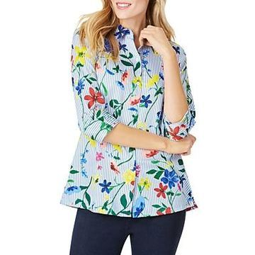 Foxcroft Libby Wrinkle-Free Striped Floral Shirt